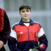 July 23, 1983; Moscow, Soviet Union; Artistic gymnast Natalia Yurchenko of Soviet Union smiles during closing ceremony for artistic gymnastics at 1986 Goodwill Games in Moscow.  Copyright 1983 Tom TheobaldPhoto note: My memory was that Natalia didn't perform at GWG 1986 and this was more an appearance only during closing ceremony at Olympisky Arena.