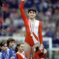 October 23, 1983; Budapest, Hungary; Artistic gymnast Natalia Yurchenko of Soviet Union wins All-Around gold at 1983 World Championships in Budapest.  Copyright 1983 Tom Theobald