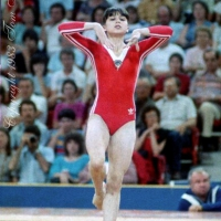 July 15, 1983; Edmonton, Alberta, Canada; Natalia Yurchenko of Soviet Union performs floor exercise at 1983 World University Games (Universiade).  Copyright 1983 Tom Theobald