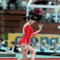 October 23, 1983; Budapest, Hungary; Artistic gymnast Natalia Yurchenko of Soviet Union performs on floor exercise at 1983 World Championships in Budapest.  Copyright 1983 Tom Theobald